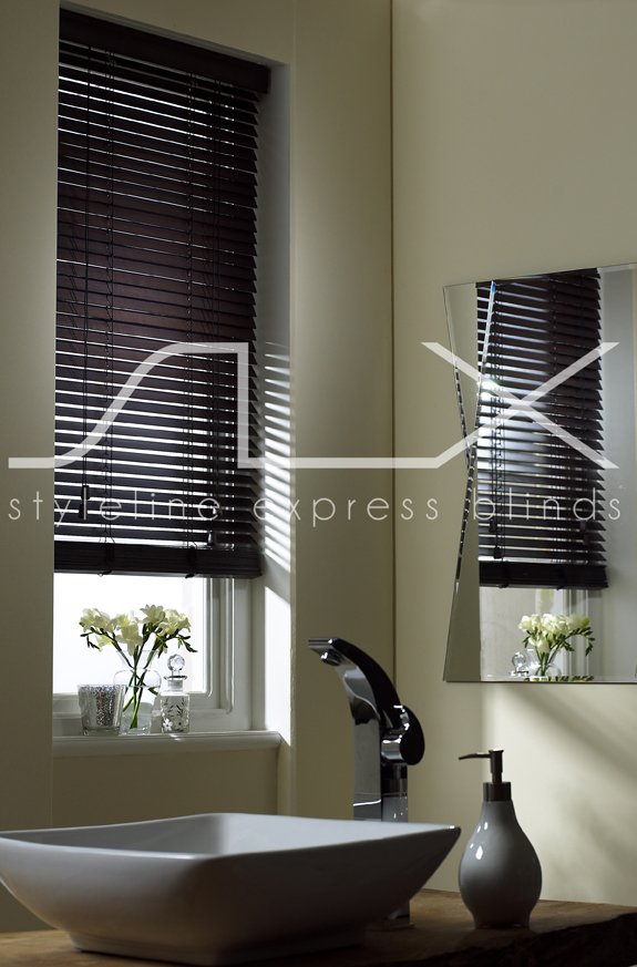SLX Wood Blinds - 25mm Chocolate Blind with Strings<div style='clear:both;width:100%;height:0px;'></div><span class='cat'>Blinds, Venetian Blinds</span>