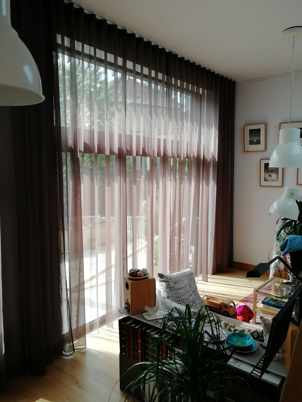 Wave 80 sheers in Villa Nova Ayre Sepia<div style='clear:both;width:100%;height:0px;'></div><span class='cat'>Previous Projects, Curtains Pelmets</span>