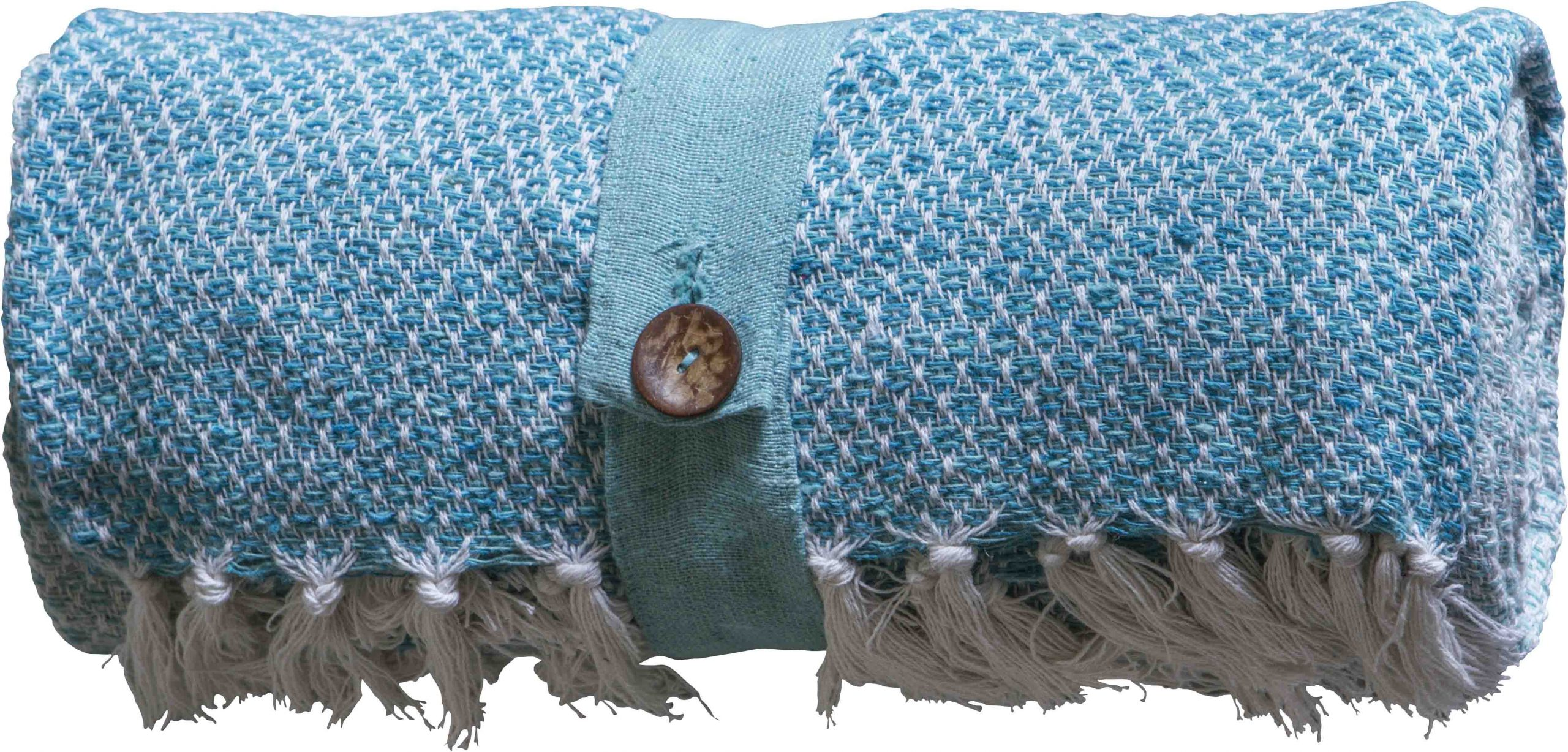 Cotton Diamond Throw Teal Dible Roy Interiors